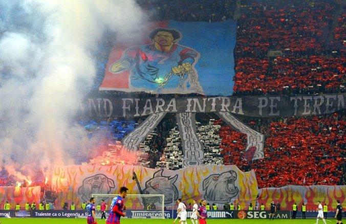 Meciul de fotbal Dinamo - Steaua, scor 1-1, meciul retur (a doua mansa), semifinale Cupa Romaniei 2013-2014, desfasurat pe Stadionul National Arena (Arena Nationala). 17.04.2014