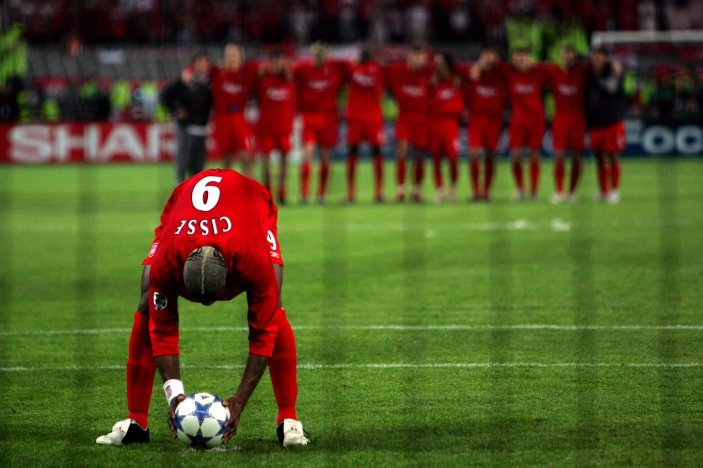 Liverpool's Djibril Cisse places the ball on the penalty spot (Photo by Matthew Ashton - EMPICS/PA Images via Getty Images)